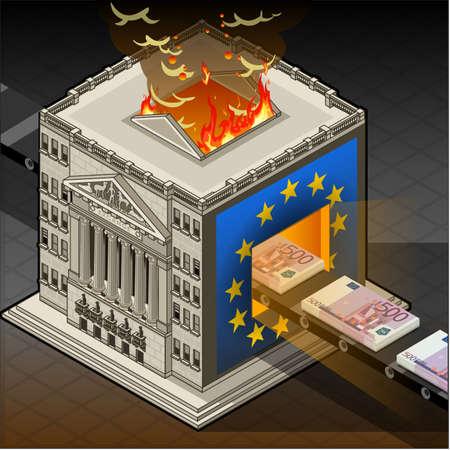 financial district: isometric Stock exchange burning euro
