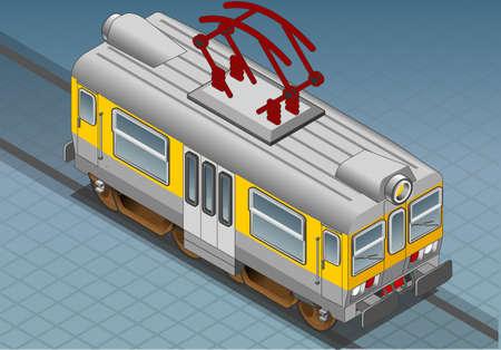 Isometric electric train iconized Stock Vector - 13294160