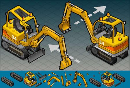 leverage: isometric mini excavator in two position Illustration