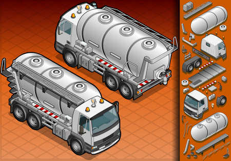 isometric liquid tank truck in two position Vector