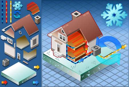 conditioning: Casa isom�trica con el acondicionador en la producci�n de calor