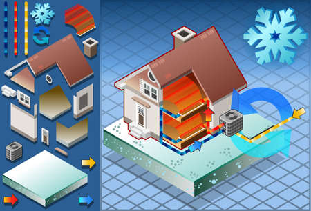 Isometric house with conditioner in heat production Vector
