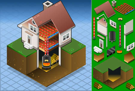 boiler: Isometric house with Wood fired boiler Illustration