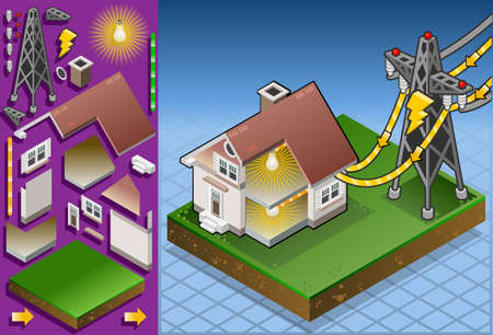 house diagram: Isometric house with solar panel in production of energy from the sun
