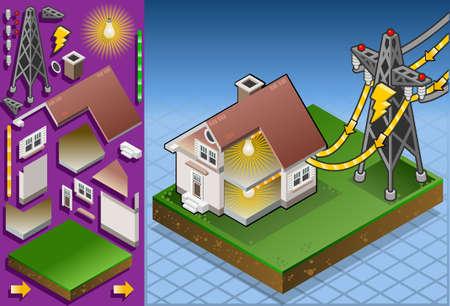 Izometryczny dom z kolektorów słonecznych do produkcji energii ze słońca