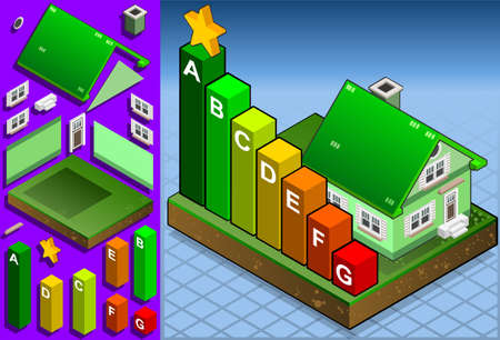 Isometric house with seven energy class bars Vector