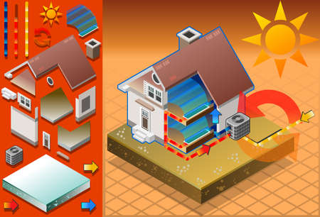 Isometric house with conditioner in cold production Vector