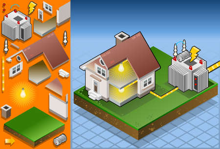 electricity pole: Isometric house powered by electrical transformer Illustration
