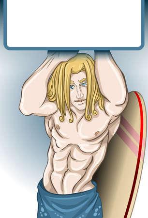 beach boy: standing surfer boy pinup with surf