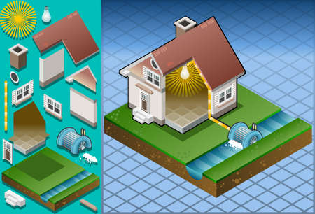 electricity pole: Isometric house powered by watermill