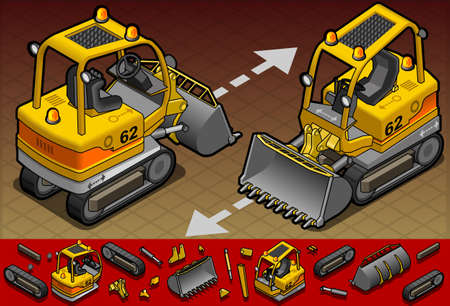 isometric mini excavator in two position Vector