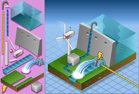 Isometric watermill and wind turbine in production of energy Vector