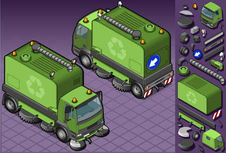 isometric garbage cleaner truck in two position Vector