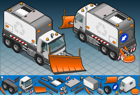 plow: isometric Snow Plow truck in two position