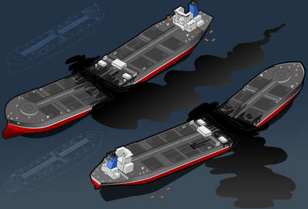 Isometric  ship tanker destroyed in two parts, in two position Vector