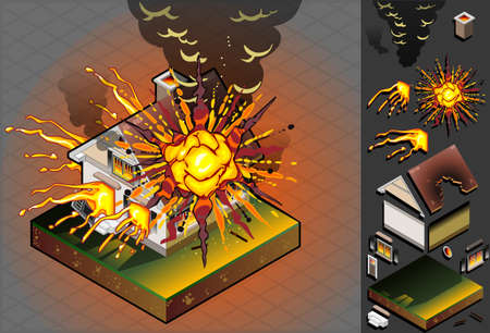ruined house: isometric House hit by explosion