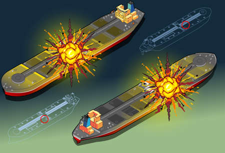 Isometric  ship tanker hit by explosion in two position Vector