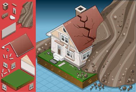 catastrophe: maison frapp�e par des glissements de terrain isom�trique