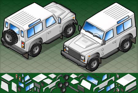 defender: Isometric white 4wd in two position
