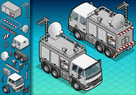 isometric TV truck in two position Vector