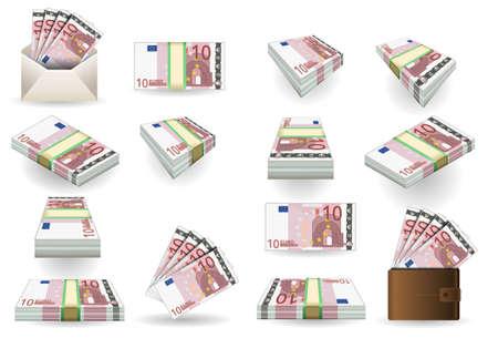 romanesque: full set of ten euros banknotes