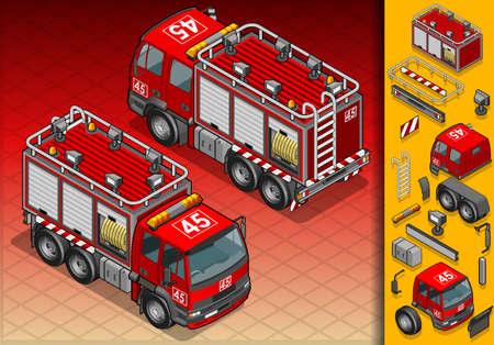 пожарный: изометрические грузовик пожарный в двух позиций