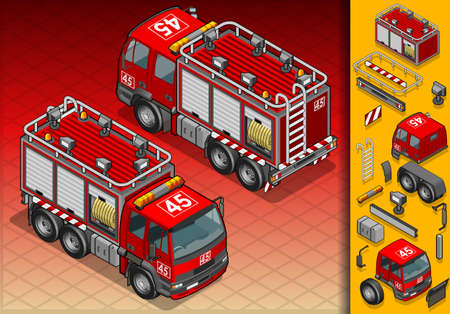 isometric firefighter truck in two position Vector