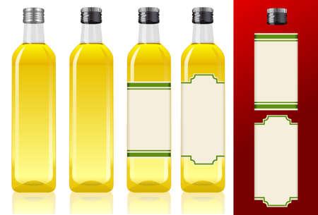 olive oil: four olive oil bottles
