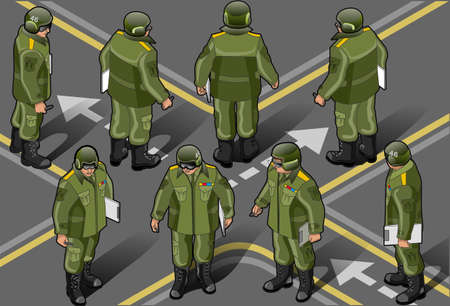 set of military man in heigt position Vector