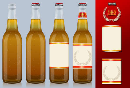 Four beer bottles with label Stock Vector - 14323523