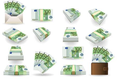 full set of hundred euros banknotes Vector