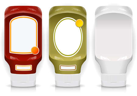 salsa de tomate: Tres frasco genérico de plástico con etiquetas