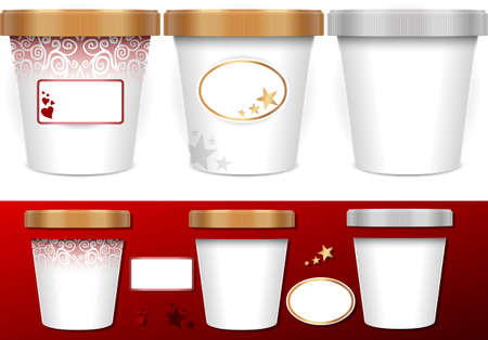 sundae: Three generic cup for ice cream with labels