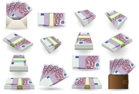 bribe: full set of five hundred euros banknotes Illustration