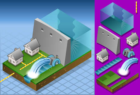 electricity pole: Isometric houses powered by watermill
