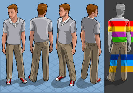 isometric service man in four position Illustration