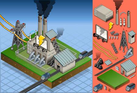 turbina de vapor: planta de carb�n isom�trica en la producci�n de energ�a