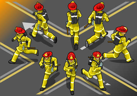 extinguisher: isometric runner firefighter in eight position Illustration