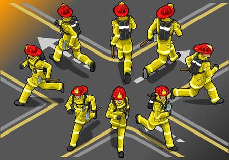firefighter uniform: isometric runner firefighter in eight position Illustration