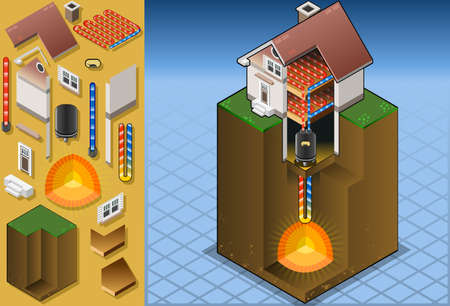 geotermalna pompa ciepła underfloorheating schemat