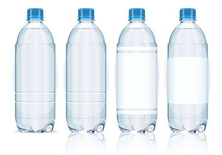 botella de plastico: Cuatro botellas de plástico con etiquetas