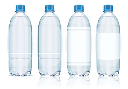 water bottle: Four plastic bottles with labels