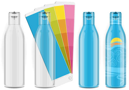 Four plastic bottles with color palette and labels Stock Vector - 15301640