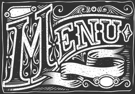 hand lettering: Detailed illustration of a vintage graphic element for menu on blackboard