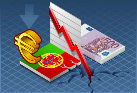 broken down: Detailed illustration of a isometric concept of economic depression of portugal   Illustration