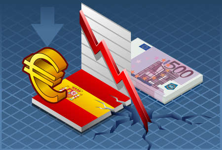 Detailed illustration of a isometric concept of economic depression of spain   Vector
