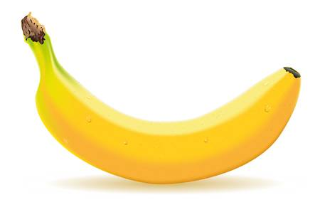 eating banana: Detailed illustration of a one banana
