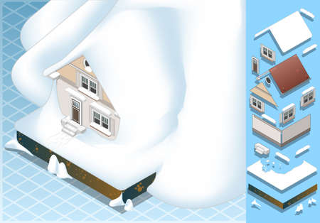 pitched roof: Detailed illustration of a isometric house hit by landslide of Snow