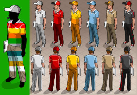 courier service: Detailed illustration of a isometric service mans in two position Illustration