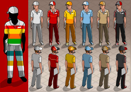 caddy: Detailed illustration of a isometric service mans in two position